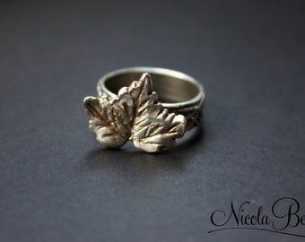 Fine Silver Autumn Maple Leaf Ring UK M U.S 6.5