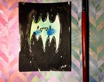 "Watercolor and ink Painting ""Green Bat"" 3x4 inches drawing / decoration."