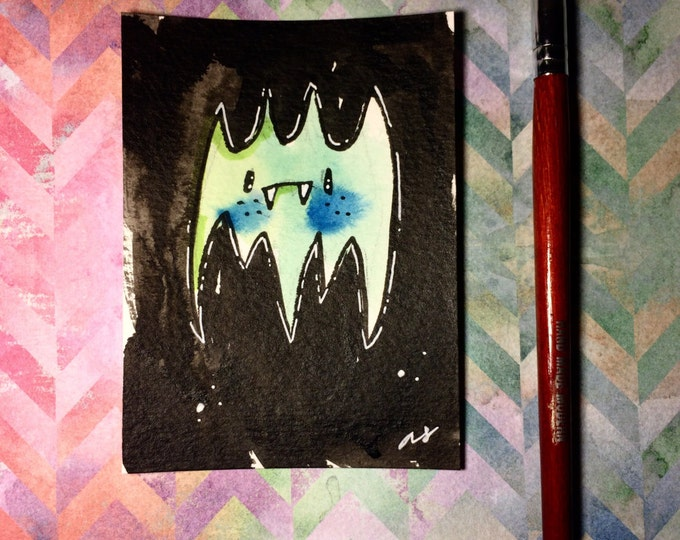 """Watercolor and ink Painting """"Green Bat"""" 3x4 inches drawing / decoration."""
