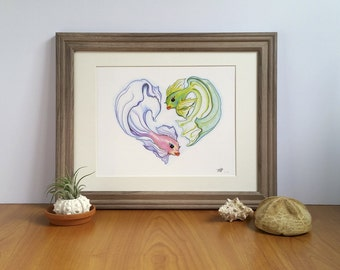 Pisces Art: Fine Art Print, Fantasia Fish, Gifts for Pisces, Heart Artwork, Romantic Gifts, Gifts under 25, Zodiac Artwork, Anniversary gift