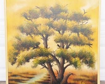 Vintage, 1970's, R, Styles, Avante Studios, Mid-Century, Tree, Oil Painting, Art, Framed, Yellow, Orange