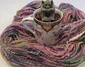 CHINA TEACUP, priced per 10 yards, handspun, art yarn, sequins, thick and thin, 2-ply yarn, bulky, angelina fiber, sari silk, homespun