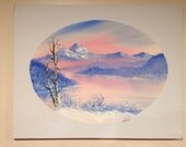 Winter scene at sunset