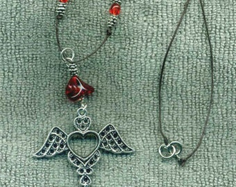 Vampire's Heart Wings Cord Necklace Handmade Accents Jewelry Gifts