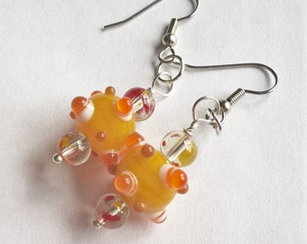 Sunny Yellow and Orange Lampwork Glass Dangle Earrings