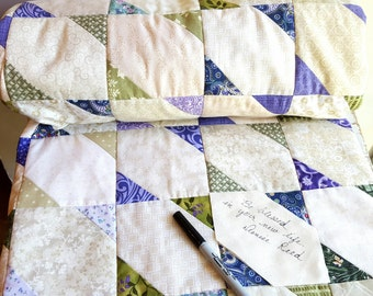 Wedding Guest Book Quilt, Lavender and Green Wedding Quilt, Purple, Green and Cream Quilt, Cottage Chic Wedding, Shabby Chic Wedding Quilt