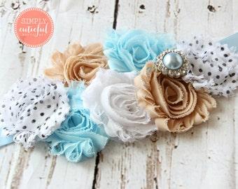 Blue and Tan Sash. Maternity Sash. Belly Sash. Flower Sash. Shabby Chic Sash. Bridal Sash. Bridesmaid Sash.