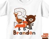 Personalized Woodland Animals Bear Fox Deer Raccoon Birthday T-shirt Bodysuit Boy Girl Kids 1st 2nd 3rd 4th 5th 6th Birthday Party Shirt
