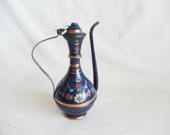 Blue ewer decorative small vintage copper pitcher, Turkish Anatolian metal crafts jug, naive folk art, flowers, etching. Oriental decoration