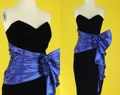 Vintage 80s Prom Dress - Black Velvet Dress - Strapless Dress - Party Dress - Short Bodycon Dress - Mini Dress - Gunne Sax - Size XS