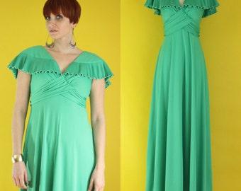 Vintage 70s Mint Bridesmaid Dress - Long Boho Dress - Formal Dress - Mint Green Maxi Dress - Sleeveless Dress - Ruffle Dress - Size Small