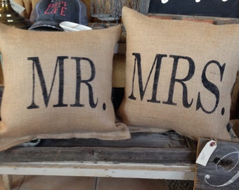 mr. & mrs. Pillow set, engagement photo prop, wedding shower gift
