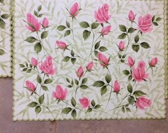 Vintage Rose Place Mat Paper Hallmark 16