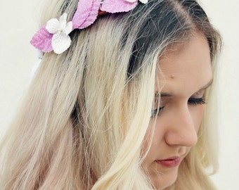 The Aletha Wreath | Sweet romantic floral wreath | Sparkly pink crown | Grecian hairpiece | Greek goddess | floral headband |