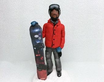 Custom Snowboarding Grooms Cake Topper * Wedding Cake Topper