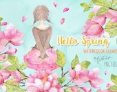 Hello Spring - art clipart - Illustration - Watercolor Elements - PNG file