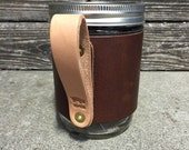 16oz Leather Wanderer Travel Mug in Dark Brown with Natural Handle // Gift for Men or Women