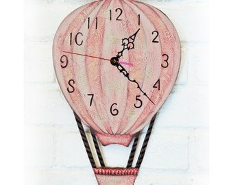 The Pink Balloon Wall Clock Home Decor for Children Baby Girl Nursery Playroom Stripes