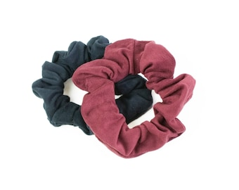 Suede Scrunchie Set Soft Retro Hair Ties Burgundy and Black