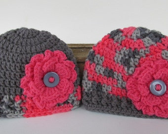 Twin Baby Girl Flower Hat Set, Pink and Grey, Crochet Newborn Hat, Baby Girl Flower Beanie, Twin Baby Gift, Baby Photo Prop, Baby Skull Cap
