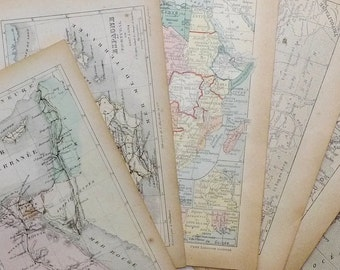 6 Vintage Maps of the Mediterranean, Small Antique Book Pages, Wall Decor Idea, Scrapbooking, DIY Craft, French Paper Ephemera Pack, 1920s,