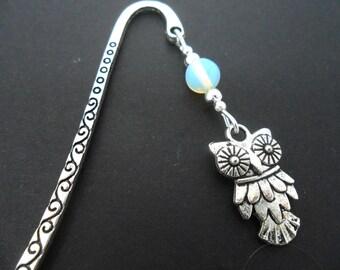 A tibetan silver owl and opalite  bead bookmark.