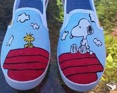 Peanuts Snoopy and Woodstock Fan Art Tribute Hand Painted Canvas Shoes Order your own size custom