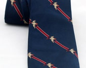 Men's Vintage Tie/Retro Necktie Blue Red Ducks