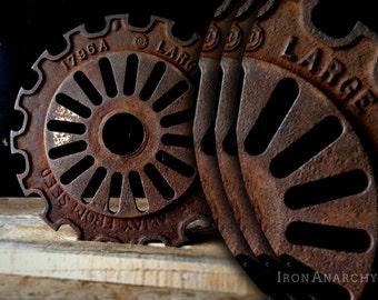 Antique Industrial Cast Iron Gear Sculpture, Machine Age Factory Decorative Metal Wheel
