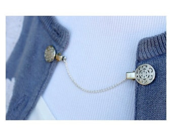 Sweater Guard Cardigan Clip Collar Clip Vintage Inspired Retro Dainty Silver Jewelry - Katherine
