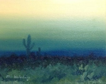 Desert Dusk- Original Oil Painting Landscape Painting Abstract Painting by Mia Vredenburg, 5x7