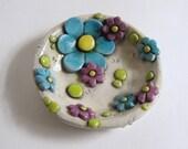 Whimsical Ring Dish, Flower Ring Dish, Trinket Dish, Polymer Clay Ring Dish