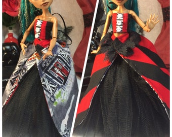 Haunted House Halloween Outfit for your Big Sister size Monster High Doll with Fully Reversible Skirt