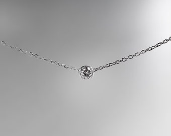 Sterling Silver Solitaire Diamond Necklace