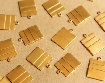 12 pc. Raw Brass Layered Rectangle Charms : 18mm by 13mm - made in USA   RB-799