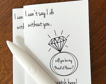 i can't say i do without you...Maid of Honor? - scratch off card - black white - hipster modern wedding