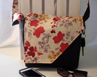 Orange, Yellow, Red and Gray Floral on Solid Black Messenger Style Canvas Purse