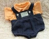 Vintage 1980s, Original, Cabbage Patch, Blue Denim, Romper Set,Overalls, Doll Clothes