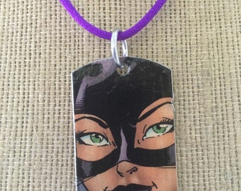 Catwoman upcycled comic book dog tag, includes necklace or keychain. Catwoman necklace. Catwoman keychain.