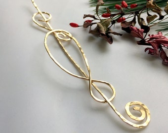 Gold Swirl Shawl Pin, Scarf Pin, Sweater Pin, Brooch, Hair Pin, Handcrafted Hammered Gold Filled
