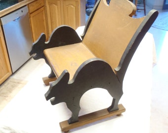 ANTIQUE Handmade Eastern Estate Child's Solid Wood Chair Black Cat Motif Children Toddlers Naughty Chair?