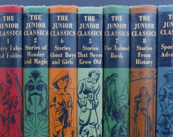 The Junior Classics Vintage Books / Book Decor / Instant Library / Book for Children / Young People Books / Book Bundle / Childs Room Decor