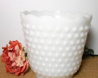 Vintage Planter, Milk Glass, Hob Nail, White, Large Vase, Milk Glass Planter