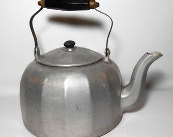 Vintage Tea Kettle, Mirro, Primitive, Aluminum, Metal, Wood Handle, Tea Pot, Large, Rustic, Kitchenware, Country, Antique