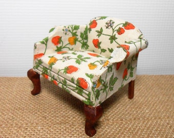 Vintage Miniature Chair, Upholstered Chair, Strawberry Fabric, Doll House Furniture, Doll House Decor, Fairy House Decor, Doll House Chair