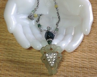 Vintage Art Deco Carved Jade Rhinestone Pendant Necklace Repurposed Dress Clip Green Agates  Silver Accent Station Chain Original WishAnWear