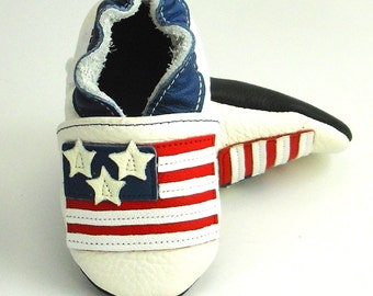 Soft sole baby shoes handmade infant gift boy USA patriotic flag United States America blue white red stars strips 12 18 ebooba ST-17-W-T-3