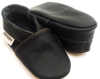 soft sole baby shoes infant kids children boy black 2 3 y bebes garcon fille cuir souple chaussons chaussures Krabbelschuhe ebooba OT-17-B-M
