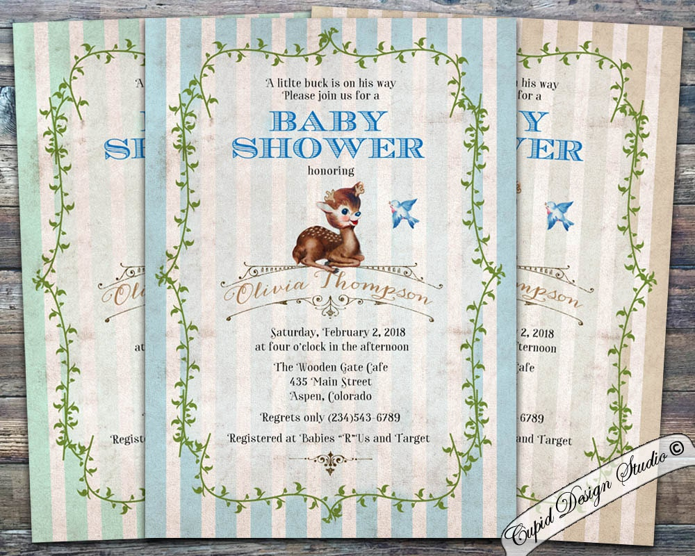 deer baby shower invitation boy baby shower invitation baby