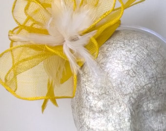 Yellow Flower inspired fascinator with White feathers